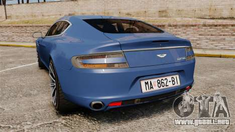 Aston Martin Rapide 2010 para GTA 4 Vista posterior izquierda