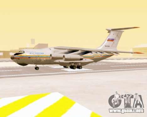 Il-76td EMERCOM de Rusia para GTA San Andreas vista posterior izquierda