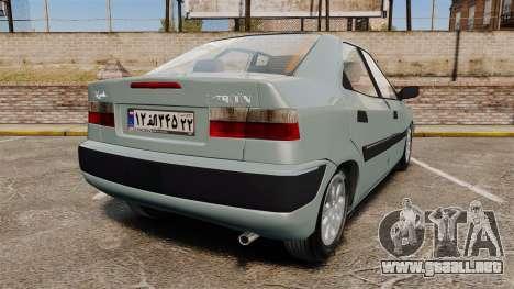 Citroen Xantia 1999 para GTA 4 Vista posterior izquierda