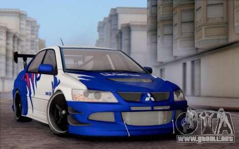 Mitsubishi Lancer Evolution IIIX para visión interna GTA San Andreas