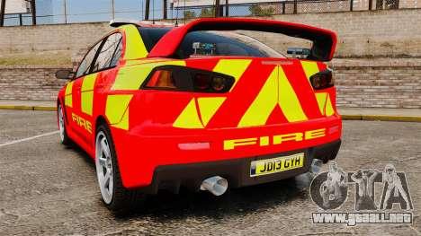 Mitsubishi Lancer Evo X Fire Department [ELS] para GTA 4 Vista posterior izquierda