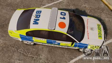 Skoda Superb 2006 Police [ELS] Whelen Justice para GTA 4 visión correcta