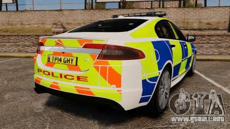 Jaguar XFR 2010 British Police [ELS] para GTA 4 Vista posterior izquierda