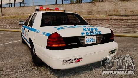 Ford Crown Victoria 1999 NYPD para GTA 4 Vista posterior izquierda