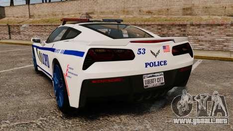 Chevrolet Corvette C7 Stingray 2014 Police para GTA 4 Vista posterior izquierda