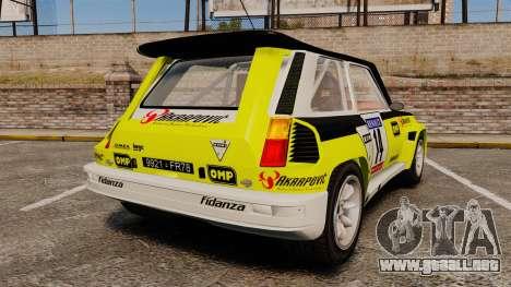 Renault 5 Turbo Maxi para GTA 4 Vista posterior izquierda
