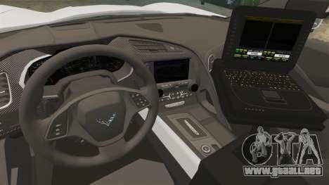 Chevrolet Corvette C7 Stingray 2014 Police para GTA 4 vista hacia atrás