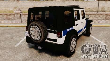 Jeep Wrangler Rubicon Police 2013 [ELS] para GTA 4 Vista posterior izquierda
