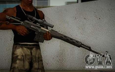 rifle de francotirador de 7.62 Dragunov SVD-s para GTA San Andreas tercera pantalla