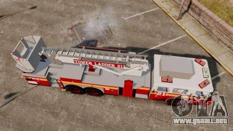 Seagrave Aerialscope Tower Ladder 2006 FDLC para GTA 4 visión correcta