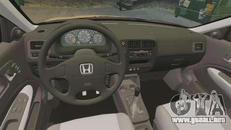 Honda Civic Si 1999 para GTA 4 vista interior