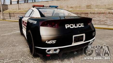 GTA V Police Elegy RH8 para GTA 4 Vista posterior izquierda
