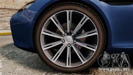 Aston Martin Rapide 2010 para GTA 4 vista hacia atrás