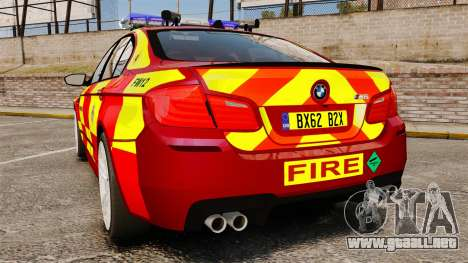 BMW M5 West Midlands Fire Service [ELS] para GTA 4 Vista posterior izquierda
