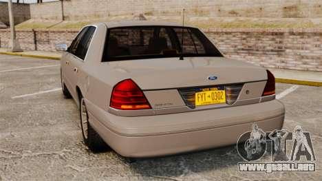 Ford Crown Victoria 1999 para GTA 4 Vista posterior izquierda