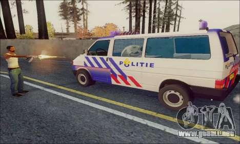 Volkswagen T4 Politie para GTA San Andreas vista posterior izquierda