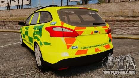 Ford Focus ST Estate 2012 [ELS] London Ambulance para GTA 4 Vista posterior izquierda