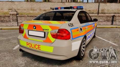 BMW 330 Metropolitan Police [ELS] para GTA 4 Vista posterior izquierda