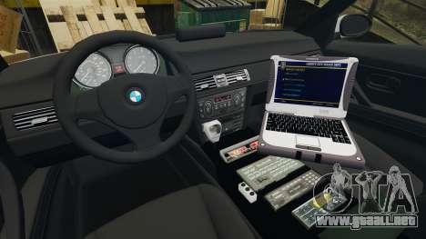 BMW 330 Metropolitan Police [ELS] para GTA 4 vista hacia atrás