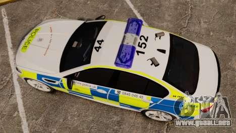 BMW M5 Marked Police [ELS] para GTA 4 visión correcta