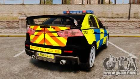 Mitsubishi Lancer Evolution X Uk Police [ELS] para GTA 4 Vista posterior izquierda