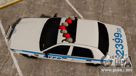 Ford Crown Victoria 1999 NYPD para GTA 4 visión correcta