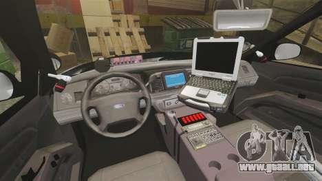Ford Crown Victoria 2011 LCSHP [ELS] para GTA 4 vista interior