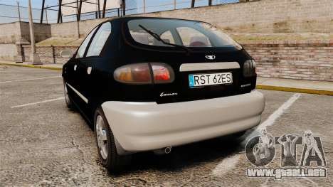 Daewoo Lanos Style 2001 Limited version para GTA 4 Vista posterior izquierda