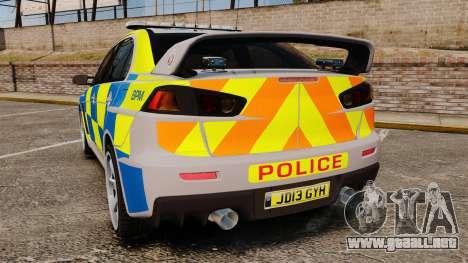 Mitsubishi Lancer Evolution X Police [ELS] para GTA 4 Vista posterior izquierda