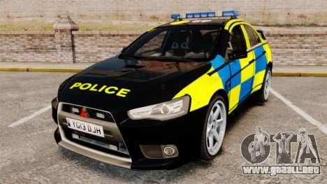 Mitsubishi Lancer Evolution X Uk Police [ELS] para GTA 4