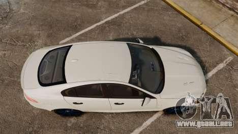 Jaguar XFR 2010 Police Unmarked [ELS] para GTA 4 visión correcta