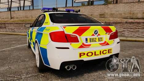BMW M5 Marked Police [ELS] para GTA 4 Vista posterior izquierda