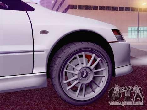 Mitsubishi Lancer Evo IX MR Edition para GTA San Andreas vista posterior izquierda