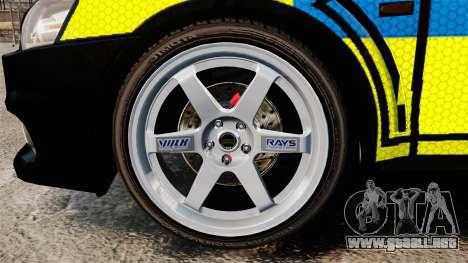Mitsubishi Lancer Evolution X Uk Police [ELS] para GTA 4 vista hacia atrás