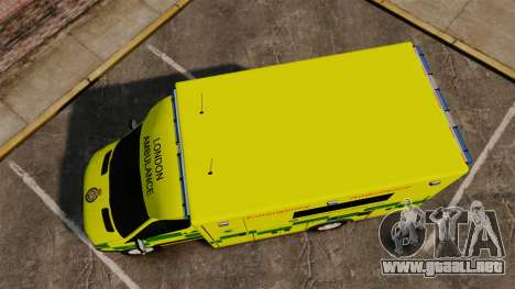 Mercedes-Benz Sprinter [ELS] London Ambulance para GTA 4 visión correcta