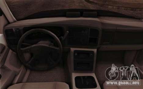 Chevrolet Suburban FBI para visión interna GTA San Andreas