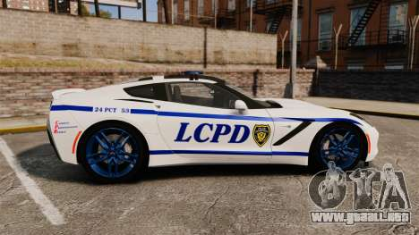 Chevrolet Corvette C7 Stingray 2014 Police para GTA 4 left