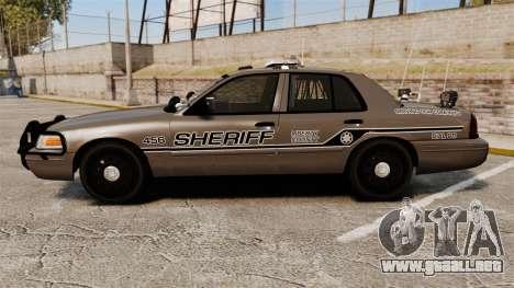 Ford Crown Victoria 2008 Sheriff Traffic [ELS] para GTA 4 left