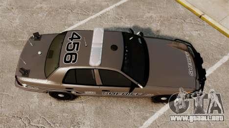 Ford Crown Victoria 2008 Sheriff Traffic [ELS] para GTA 4 visión correcta