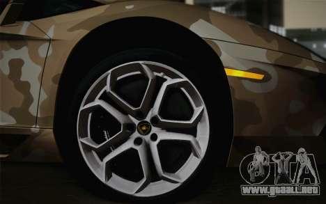 Lamborghini Aventador LP 700-4 Camouflage para GTA San Andreas vista posterior izquierda