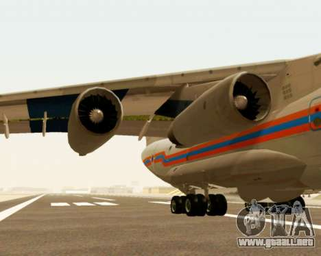 Il-76td EMERCOM de Rusia para GTA San Andreas vista hacia atrás