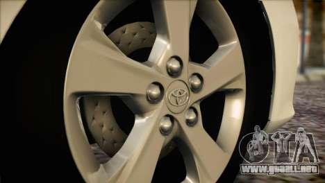 Toyota Corolla 2012 para GTA San Andreas vista hacia atrás