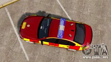 BMW M5 West Midlands Fire Service [ELS] para GTA 4 visión correcta