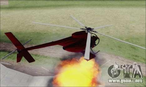 Helicóptero de ataque buitre de GTA 5 para GTA San Andreas vista hacia atrás