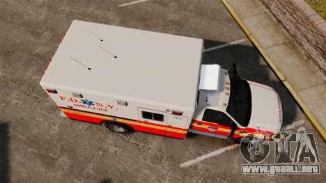 Ford F-350 FDNY Ambulance [ELS] para GTA 4 visión correcta