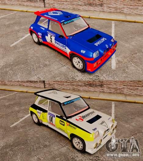 Renault 5 Turbo Maxi para GTA 4 vista hacia atrás