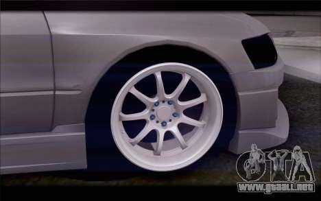 Mitsubishi Lancer Evolution Stance para GTA San Andreas vista posterior izquierda