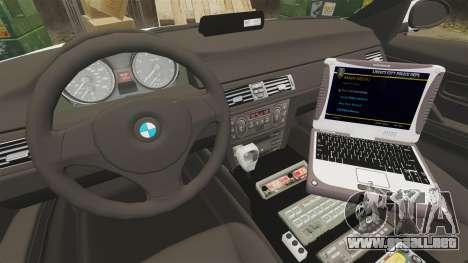 BMW 330i Hampshire Police [ELS] para GTA 4 vista hacia atrás