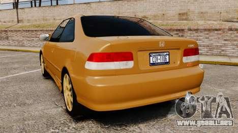 Honda Civic Si 1999 para GTA 4 Vista posterior izquierda
