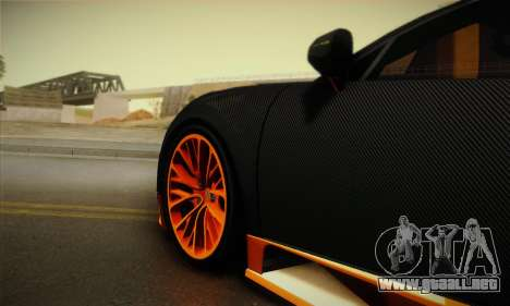 Bugatti Veyron Super Sport World Record Edition para GTA San Andreas vista hacia atrás